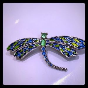 Vintage blue and green dragon fly brooch